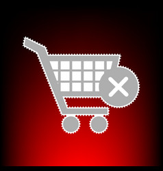Shopping cart with delete sign postage stamp or vector