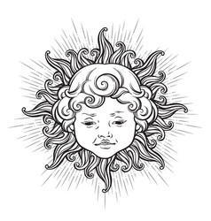 sun with face of cute curly smiling baby boy vector image vector image