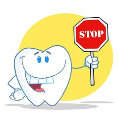 Tooth Character Holding A Stop Sign vector image vector image