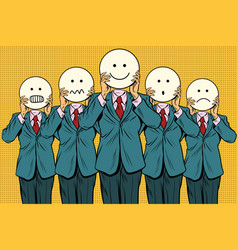 Vintage set of smiley face emoji people vector