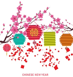 Happy chinese new year with lantern vector