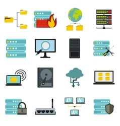 Big data icons set flat style vector