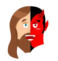 Two face jesus and devil half face of son of god vector