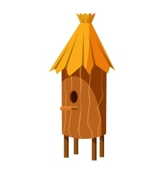 Wooden beehive icon cartoon style vector