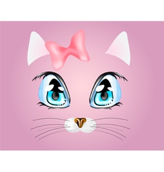 Pink background with kitty vector