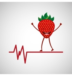 Healthy fruit strawberry heart rate icon vector
