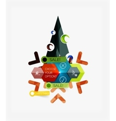 Paper new year and christmas labels stickers vector