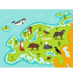 European map with wildlife animals vector