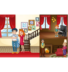 Family members in different rooms of the house vector image