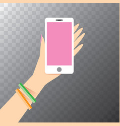 Hand holding white smart phone vector