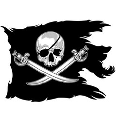 Pirate flag with a skull vector