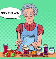 Pop art senior woman making jam healthy eating vector