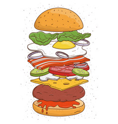 Hamburger concept ingredients bun salad tomato vector