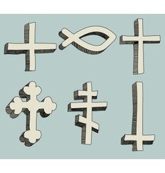 Christianity religious crosses doodle vector