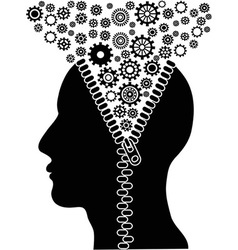 Unzipped human head with cogs vector