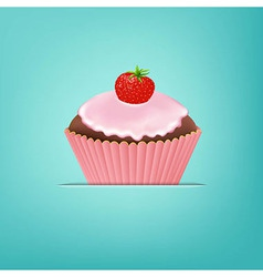 Cupcake With Cream And Strawberry vector image