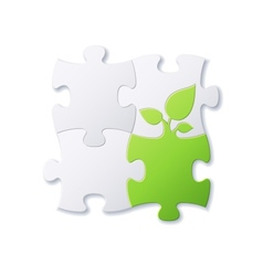 Puzzles and green leaf vector