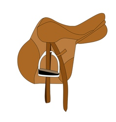 Brown equestrian saddle vector