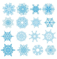 Blue snowflakes isolated set on white EPS 10 vector image