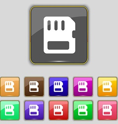 Compact memory card icon sign set with eleven vector