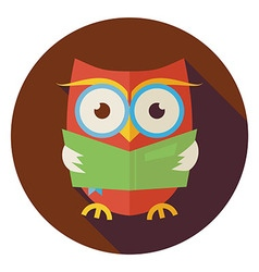 Flat wisdom bird owl reading book circle icon with vector