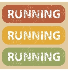 Vintage running stamp set vector