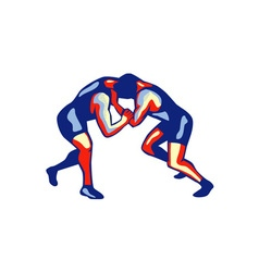 Freestyle wrestling retro vector