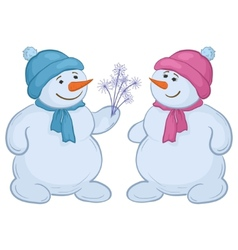 Snowmen with snow flowers vector