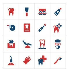Set color icons of dental vector