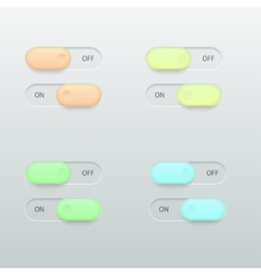 Modern glossy colorful on off switch set vector