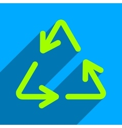 Recycle arrows flat square icon with long shadow vector