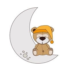 bear moon sleep design isolated vector image