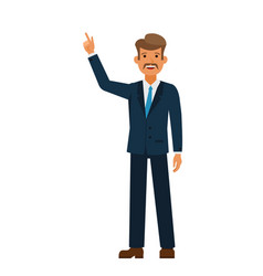 businessman pointing finger up cartoon flat vector image vector image