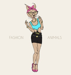 Caracal cat dressed up in swag style vector