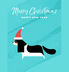 Christmas and new year holiday dog greeting card vector