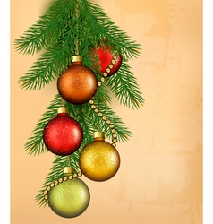 Christmas retro background with balls and fir vector image vector image