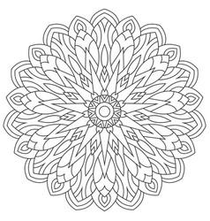 Circular geometric ornament round outline mandala vector