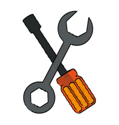 color blurred set wrench and screwdriver vector image vector image