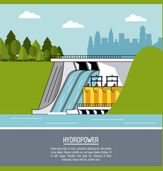 Color landscape background hydropower plant vector