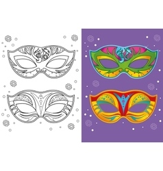 Coloring Book Of Christmas Carnival Masks vector image