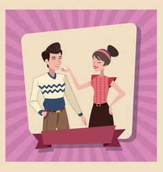 Couple love family parents card vector