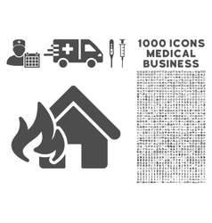Fire Damage Icon with 1000 Medical Business vector image vector image