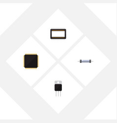Flat icon electronics set of receiver resistor vector