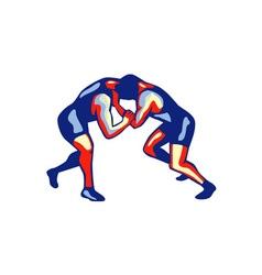 Freestyle wrestling retro vector