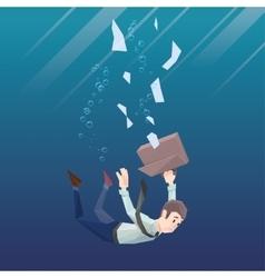 Man in office wear goes down under water vector