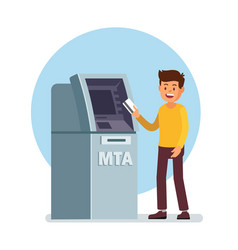 Man using atm machine vector