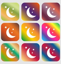 moon icon Nine buttons with bright gradients for vector image