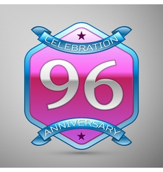 Ninety six years anniversary celebration silver vector