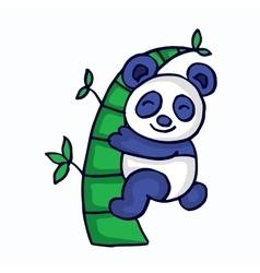 Panda with bamboo cartoon funny vector