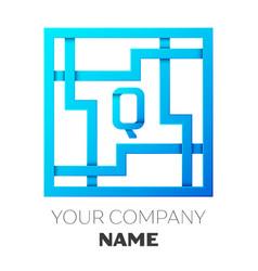 Realistic letter q logo in colorful square maze vector